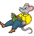 mouse with glasses and green book vector image vector image