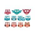 owl nice logo bundle vector image
