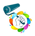 roller in hand and paint vector image vector image