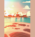 sea shore beach with villa hotel beautiful sunset vector image vector image