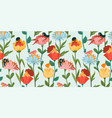 seamless pattern with women sitting in flowers vector image