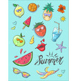set of summer fashion patches fun stickers cute vector image vector image