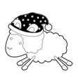 sheep animal with sleeping cap jumping black color vector image