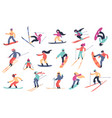 skiing snowboarding people winter sport vector image