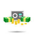 stacks of gold coins and stacks of dollar cash vector image vector image