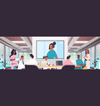 team doctors having video conference mix race vector image vector image