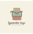 Thin-lined stylized typewriter logotype vector image vector image
