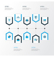 trade icons colored set with analytic vector image vector image