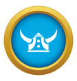 viking helmet icon blue isolated vector image vector image