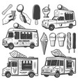 vintage monochrome ice creams collection vector image vector image