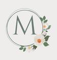 white camellia wreath frame alphabet logo template vector image
