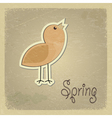 Vintage postcard with a picture chick Spring motif vector image