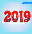 2019 red with snow vector image vector image