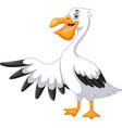 a cute cartoon pelican waving vector image vector image