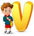 alphabet v with a school boy stand