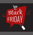 black friday speech bubble with trolley logo sign vector image