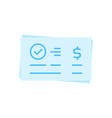 blue money cheque isolated on white vector image vector image