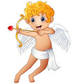 cartoon little cupid shoot a bow isolated on a whi vector image