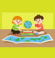 children studying learning geography with globe vector image