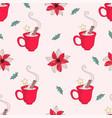 christmas mug merry christmas seamless pattern vector image vector image