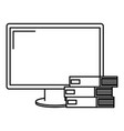 computer display with pile books vector image vector image