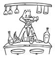 crocodile bartender outline vector image vector image