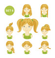 cute blonde little girls with various hair style vector image vector image