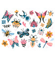 cute bugs child drawing insects flying vector image