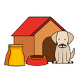 dog wooden house bowl and package vector image vector image
