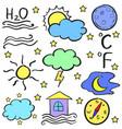 doodle of weather element set vector image vector image