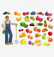 farmer with fruits and berries gardening food vector image vector image