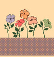 floral background cute flowers and polka dot vector image
