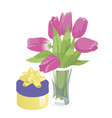 flower vase and a box with a gift flower vase vector image vector image