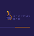 logo on alchemy and unusual bar vector image