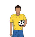 man holding football or soccer on white background vector image vector image