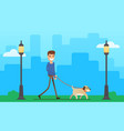 man walking dog outdoor vector image vector image