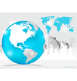 Modern globe with building background vector image vector image