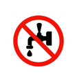 no drink water prohibiting sign vector image
