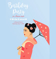 party invitation template with pretty asian girl vector image vector image
