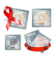 red awareness ribbon with condom safe sex concept vector image