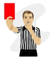 referee showing red card warning blowing whistle vector image