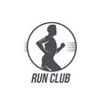 run club logo template with side view jogging man vector image vector image