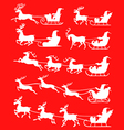 santa set snow red vector image vector image