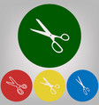 scissors sign 4 white styles vector image vector image