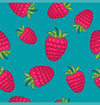 seamless pattern raspberries on azure background vector image vector image