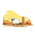 sheep in farm with cartoon style vector image vector image