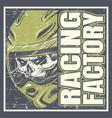 skull wearing helmet and text racing factory hand vector image vector image