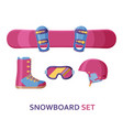 snowboard icon collection set with equipment vector image