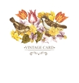 Spring Floral Retro Card with Bird Sparrows vector image vector image