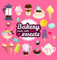 sweets cafe elment set sweets pastry coffee and vector image vector image